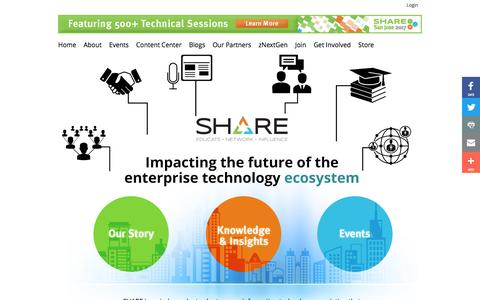 Screenshot of Home Page share.org - SHARE : SHARE - Enterprise Technology IT Professionals Association - Home - captured Nov. 18, 2016