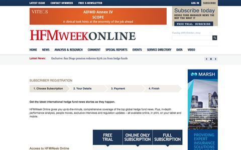 Screenshot of Trial Page hfmweek.com - Subscriber registration - HFMWeek magazine - captured Oct. 28, 2014