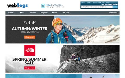 Screenshot of Home Page webtogs.co.uk - WebTogs - Outdoor Clothing, Footwear and Equipment   Free Delivery   Autumn 2014 Range - captured Sept. 17, 2014
