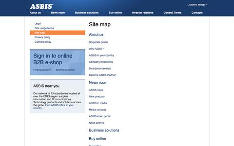 Screenshot of Site Map Page asbis.com - Site map - captured Nov. 16, 2019