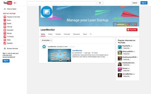Screenshot of YouTube Page youtube.com - LeanMonitor  - YouTube - captured Oct. 28, 2014