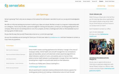 Screenshot of Jobs Page sense-labs.com - Sense Labs | Job Openings - captured Nov. 18, 2015