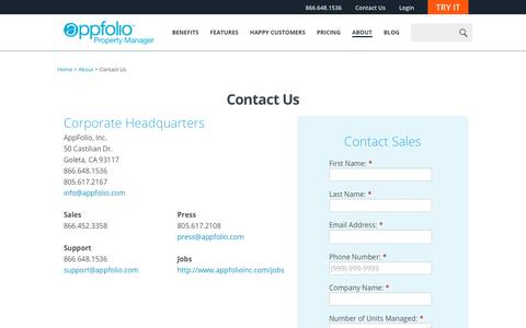 Screenshot of Contact Page appfolio.com - Online Property Management Software by AppFolio - Contact - captured July 29, 2016