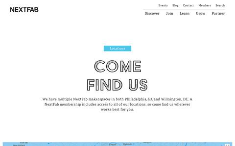Screenshot of Locations Page nextfab.com - NextFab | Locations | Philadelphia, PA & Wilmington, DE - captured Oct. 29, 2017