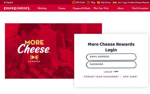 Screenshot of Login Page chuckecheese.com - More Cheese Rewards Login | Chuck E. Cheese's - captured Nov. 3, 2018