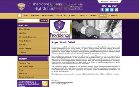Screenshot of Support Page guerincatholic.org - Support - Guerin Catholic High School - captured Nov. 5, 2014