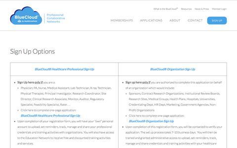 Screenshot of Signup Page healthcarepoint.com - Sign Up Options - HealthCarePoint - captured Dec. 8, 2015