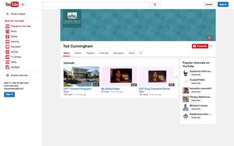 Screenshot of YouTube Page youtube.com - Tod Cunningham  - YouTube - captured Oct. 22, 2014