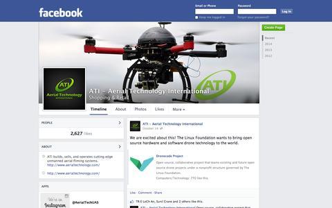 Screenshot of Facebook Page facebook.com - ATI - Aerial Technology International - Clackamas, OR - Shopping & Retail | Facebook - captured Oct. 23, 2014