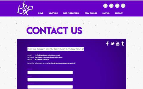 Screenshot of Contact Page twoboxproductions.co.uk - Mates | Contact - captured Nov. 4, 2017