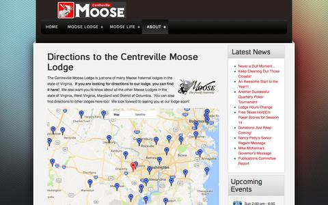 Screenshot of Maps & Directions Page centrevillemoose.com - Directions to the Centreville Moose Lodge - captured July 22, 2017