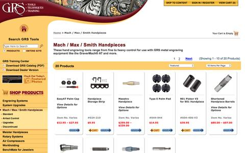 Screenshot of grstools.com - Mach / Max / Smith Handpieces :: GRS Hand Engraving Tools & Training - captured March 20, 2016