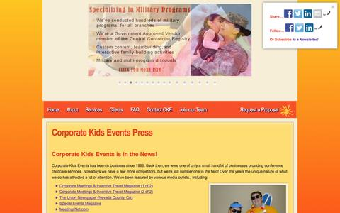 Screenshot of Press Page conferencechildcare.com - Corporate Kids Events in the News! - captured Oct. 3, 2014
