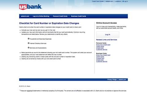 U.S. Bank - Checklist for Card Number or Expiration Date Changes