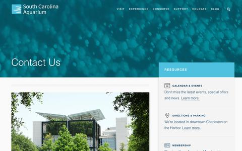 Screenshot of Contact Page scaquarium.org - Contact Us - Hours and Information - South Carolina Aquarium - captured Dec. 16, 2018