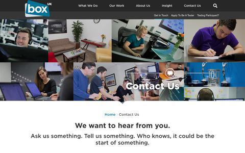Screenshot of Contact Page boxuk.com - Contact Box UK | Award-Winning Web Consultancy | London & Cardiff | Box UK - captured July 30, 2018