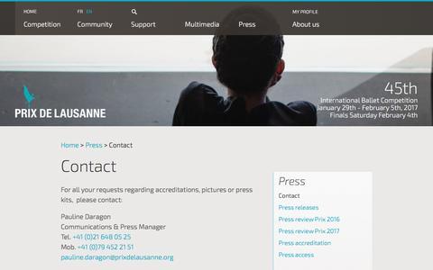 Screenshot of Press Page prixdelausanne.org - Contact - Prix de Lausanne - captured Dec. 31, 2016