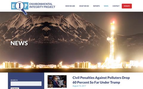 Screenshot of Press Page environmentalintegrity.org - Environmental IntegrityArchives: News | Environmental Integrity - captured Aug. 14, 2017