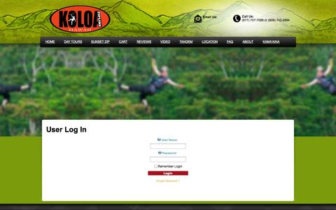 Screenshot of Login Page koloazipline.com - Koloa Zipline Tour - captured Sept. 30, 2014