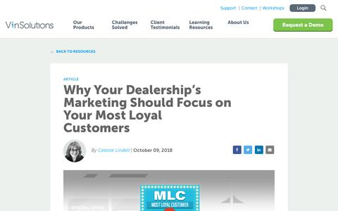 Screenshot of Blog vinsolutions.com - VinSolutions - Why Your Dealership's Marketing Should Focus on Your Most Loyal Customers - captured Dec. 3, 2019