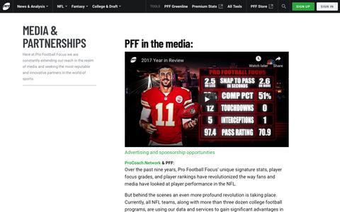 Screenshot of Press Page profootballfocus.com - Media & Partnerships | Pro Football Focus - captured May 14, 2019