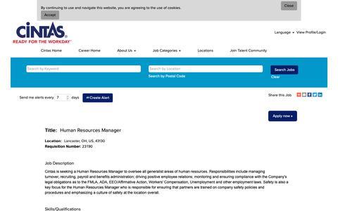 Screenshot of Jobs Page cintas.com - Human Resources Manager - captured Oct. 26, 2018