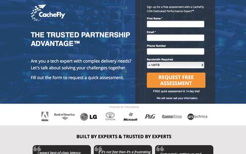 Screenshot of Landing Page cachefly.com - CDN Free Trial | Content Delivery Network | CacheFly - captured Feb. 5, 2017