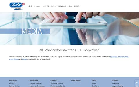 Screenshot of Press Page schoberusa.com - All Schober documents as PDF – download | Schober specializes in the development and manufacturing of rotary tools, modules & machines for film, foil, packaging, nonwovens and paper converting - captured July 27, 2018