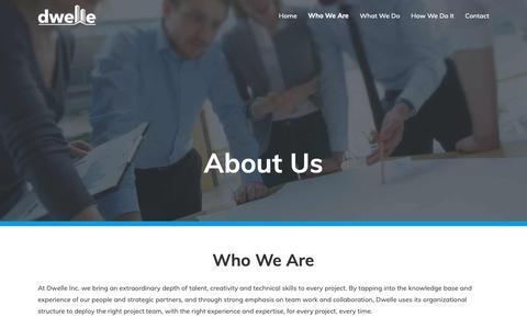 Screenshot of About Page dwelleinc.com - Dwelle Inc. - Built-environment solutions & construction management - captured Nov. 6, 2018