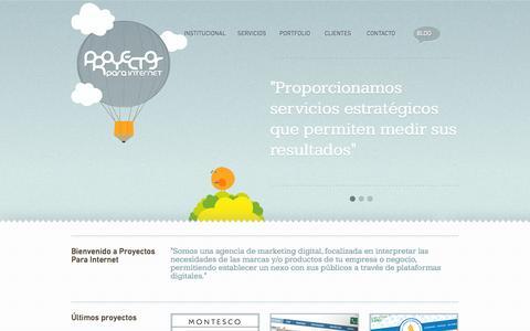 Screenshot of Home Page proyectosparainternet.com - Proyectos Para Internet - captured Sept. 30, 2014