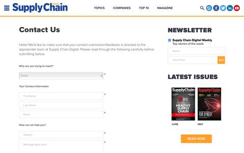 Screenshot of Contact Page supplychaindigital.com - Contact Us | Supply Chain Digital - captured June 27, 2017