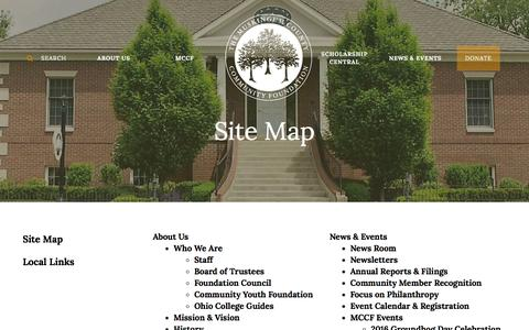 Screenshot of Site Map Page mccf.org - Muskingum County Community Foundation : Site Map : Site Map - captured Feb. 15, 2016