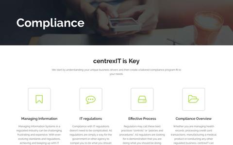 Screenshot of centrexit.com - Compliance - San Diego's Leader in IT Management and IT Consulting - centrexIT - captured Oct. 4, 2016