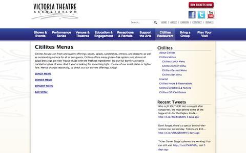 Screenshot of Menu Page victoriatheatre.com - Citilites Menus   Victoria Theatre Association - captured Oct. 7, 2014