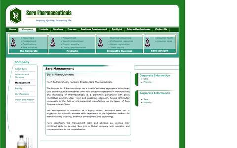 Screenshot of Team Page sarapharma.com - Sara Pharmaceuticals - captured Oct. 4, 2014