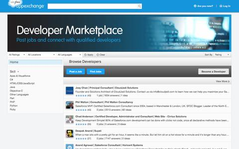 Screenshot of Developers Page salesforce.com - AppExchange - Developer Marketplace - captured Oct. 22, 2014