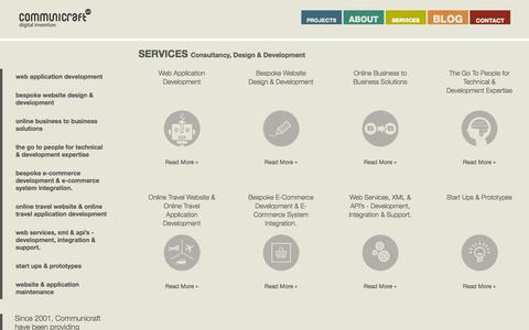 Screenshot of Services Page communicraft.com - Consultancy, Web Design and Web Development Services by Communicraft - A Web Application Development Company based in Dublin, Ireland.  | Communicraft - captured Oct. 2, 2014