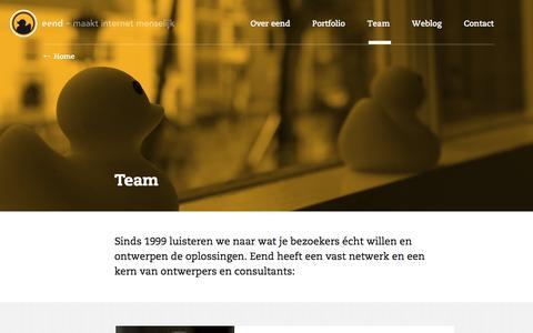 Screenshot of Team Page eend.nl - Team ~ eend - captured Nov. 15, 2016