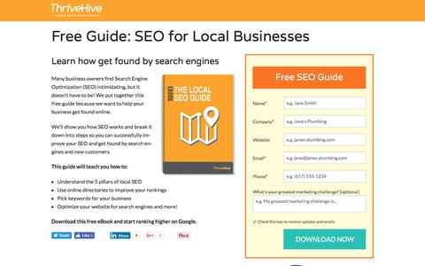 Screenshot of Landing Page thrivehive.com - Search Engine Optimization for Local Business   ThriveHive - captured Aug. 19, 2016