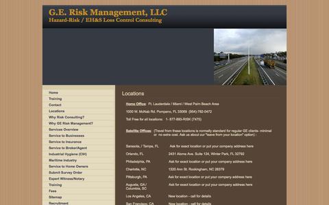 Screenshot of Locations Page geriskmanagement.com - Locations - captured Oct. 1, 2014