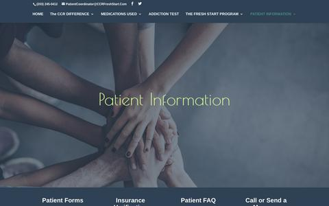 Screenshot of Contact Page Maps & Directions Page ccrfreshstart.com - Patient Information - The Center For Compassionate Recovery - captured July 8, 2018