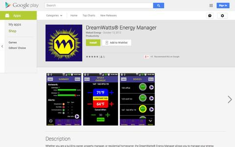 Screenshot of Android App Page google.com - DreamWatts® Energy Manager - Android Apps on Google Play - captured Oct. 22, 2014
