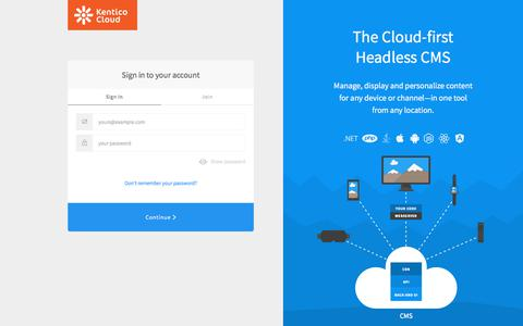Screenshot of Login Page auth0.com - Sign in | Kentico Cloud - captured Aug. 20, 2019