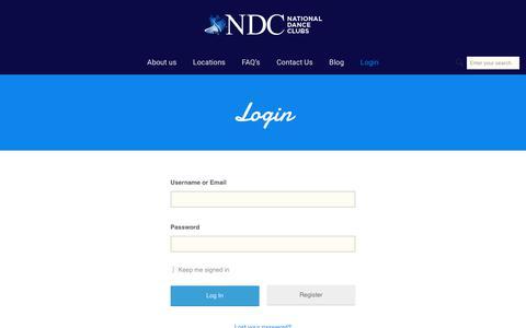 Screenshot of Login Page nationaldanceclubs.com - Login - National Dance Clubs - captured Oct. 23, 2018