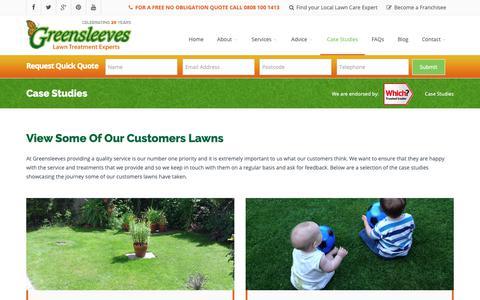 Screenshot of Case Studies Page Testimonials Page greensleeves-uk.com - Customer Testimonials | Greensleeves Lawn Care - captured Nov. 11, 2018