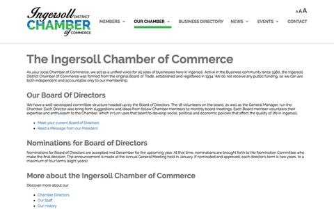 Screenshot of About Page ingersollchamber.com - Ingersoll Chamber of Commerce |   	Local Chamber of Commerce details, current Board of Directors Ingersoll SW Ontario - captured Oct. 15, 2017