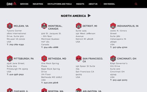Screenshot of Locations Page dminc.com - Locations - DMI - captured Nov. 23, 2019