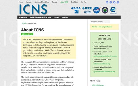 Screenshot of About Page i-cns.org - About ICNS | ICNS Conference - captured Oct. 1, 2018