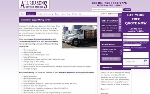 Screenshot of Services Page allreasonsmoving.com - Moving Services in San Jose, California - Bay Area Moving Company - captured Nov. 6, 2018