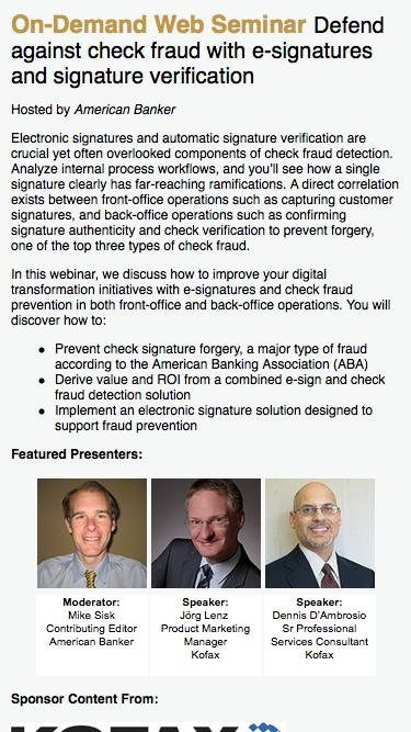 Defend against check fraud with e-signatures and signature verification Web Seminar